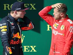 Vettel en Verstappen discussiëren over wie de race in België gaat winnen