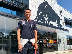 Albon poses in Red Bull attire ahead of the Belgian GP