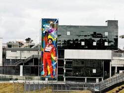 Metershoge muurschildering Ayrton Senna siert Interlagos
