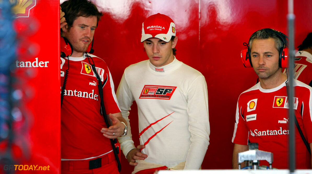 ABU DHABI, UNITED ARAB EMIRATES - NOVEMBER 16: L-R, Rob Smedly of Great Britain and Scuderia Ferrari, Chief Engineer of Felipe Massa with Jules Bianchi of France and Scuderia Ferrari during the Young Driver Testing at the Yas Marina Circuit on November 16, 2010 in Abu Dhabi, United Arab Emirates. (Photo by Andrew Hone/Getty Images)   Andrew Hone