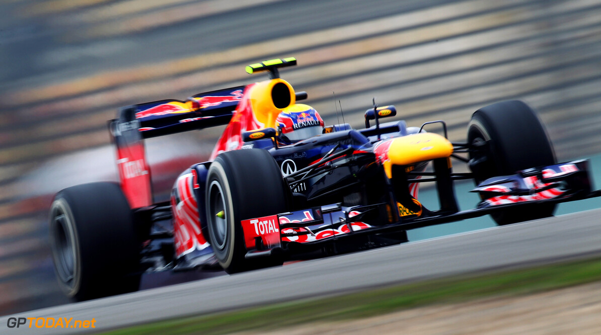 141015612KR300_Chinese_F1_G SHANGHAI, CHINA - APRIL 13:  Mark Webber of Australia and Red Bull Racing drives during practice for the Chinese Formula One Grand Prix at the Shanghai International Circuit on April 13, 2012 in Shanghai, China.  (Photo by Mark Thompson/Getty Images) *** Local Caption *** Mark Webber Chinese F1 Grand Prix - Practice Mark Thompson Shanghai China  Formula One Racing F1
