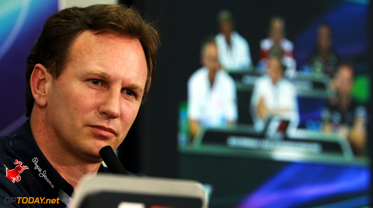 141015632KR238_Bahrain_F1_G SAKHIR, BAHRAIN - APRIL 20:  Red Bull Racing Team Principal Christian Horner attends the official press conference following practice for the Bahrain Formula One Grand Prix at the Bahrain International Circuit on April 20, 2012 in Sakhir, Bahrain.  (Photo by Mark Thompson/Getty Images) *** Local Caption *** Christian Horner Bahrain F1 Grand Prix - Practice Mark Thompson Sakhir Bahrain  Formula One Racing F1