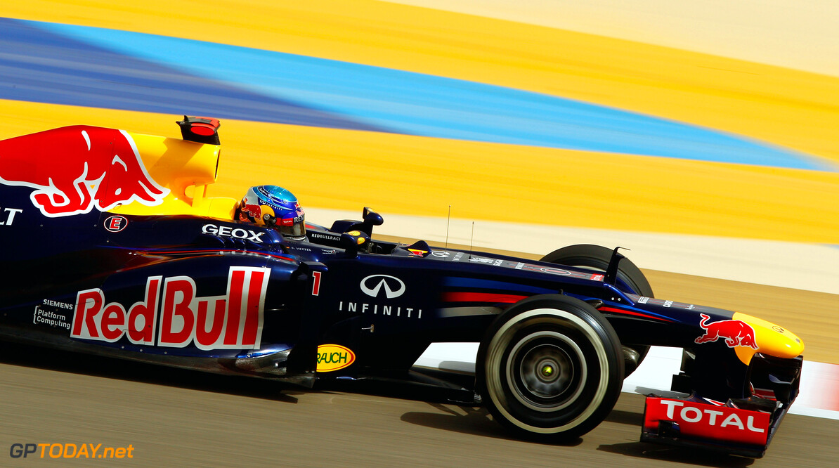 141015638KR115_Bahrain_F1_G SAKHIR, BAHRAIN - APRIL 21:  Sebastian Vettel of Germany and Red Bull Racing drives during qualifying for the Bahrain Formula One Grand Prix at the Bahrain International Circuit on April 21, 2012 in Sakhir, Bahrain.  (Photo by Paul Gilham/Getty Images) *** Local Caption *** Sebastian Vettel Bahrain F1 Grand Prix - Qualifying Paul Gilham Sakhir Bahrain  Formula One Racing F1