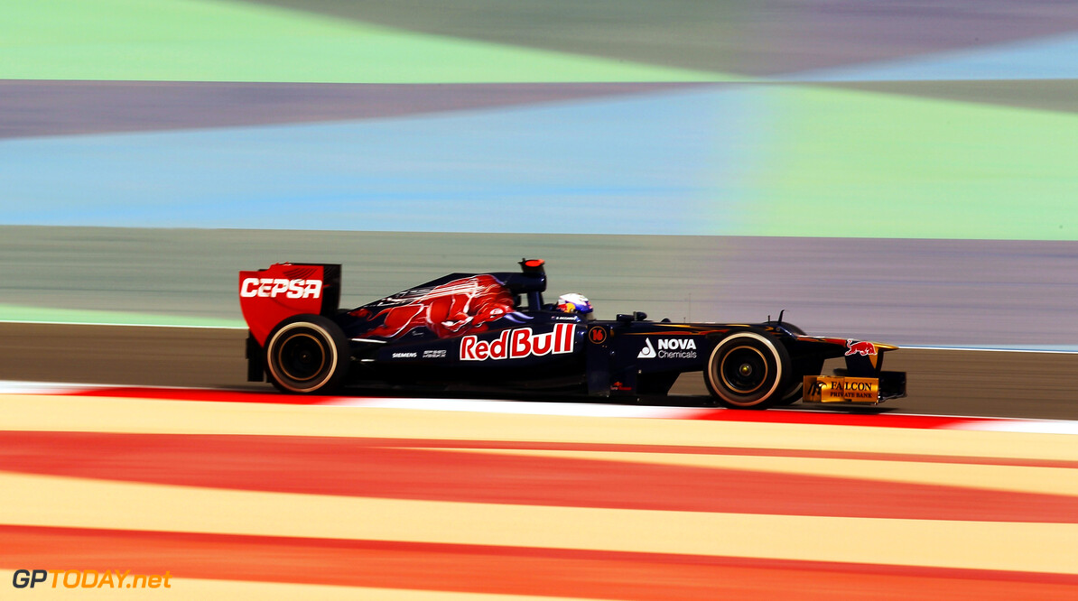 141015632KR298_Bahrain_F1_G SAKHIR, BAHRAIN - APRIL 20:  Daniel Ricciardo of Australia and Scuderia Toro Rosso drives during practice for the Bahrain Formula One Grand Prix at the Bahrain International Circuit on April 20, 2012 in Sakhir, Bahrain.  (Photo by Mark Thompson/Getty Images) *** Local Caption *** Daniel Ricciardo Bahrain F1 Grand Prix - Practice Mark Thompson Sakhir Bahrain  Formula One Racing F1