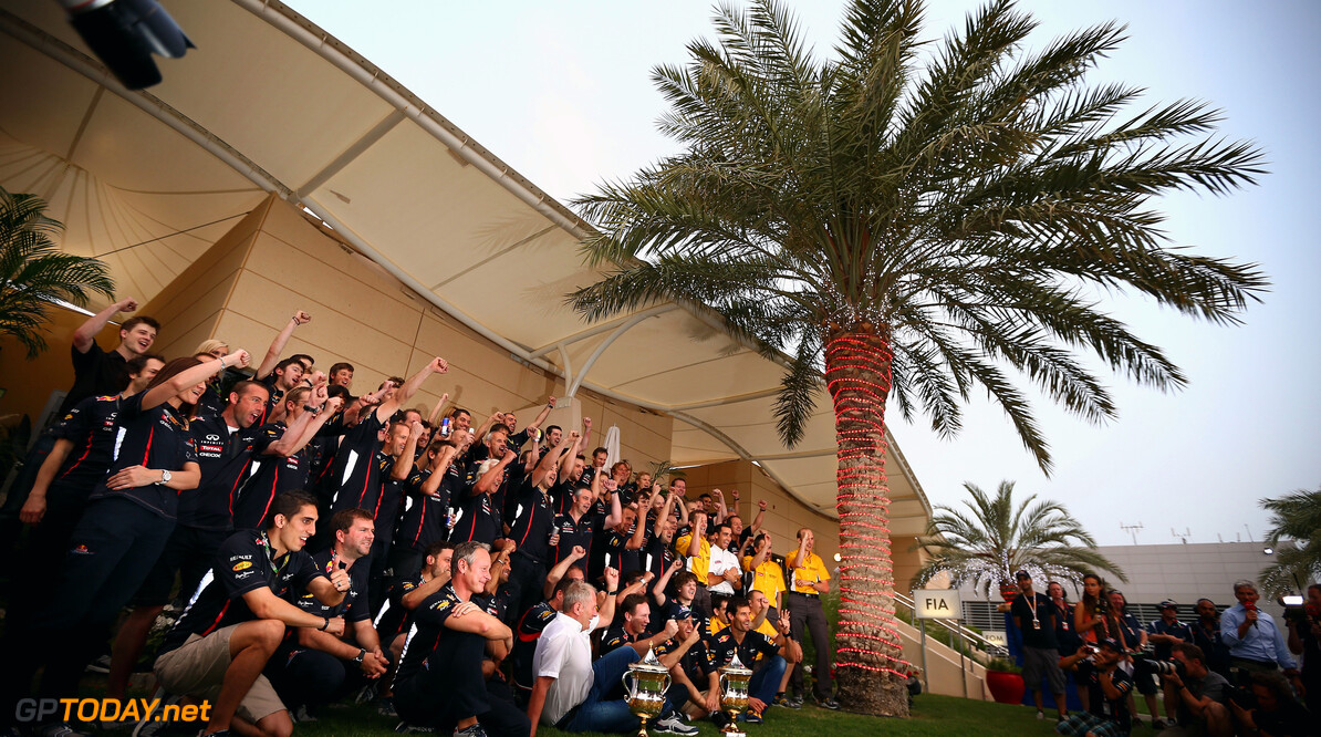 141015639KR132_Bahrain_F1_G SAKHIR, BAHRAIN - APRIL 22:  Sebastian Vettel of Germany and Red Bull Racing celebrates with his team in the paddock after winning the Bahrain Formula One Grand Prix at the Bahrain International Circuit on April 22, 2012 in Sakhir, Bahrain.  (Photo by Clive Mason/Getty Images) *** Local Caption *** Sebastian Vettel Bahrain F1 Grand Prix - Race Clive Mason Sakhir Bahrain  Formula One Racing F1