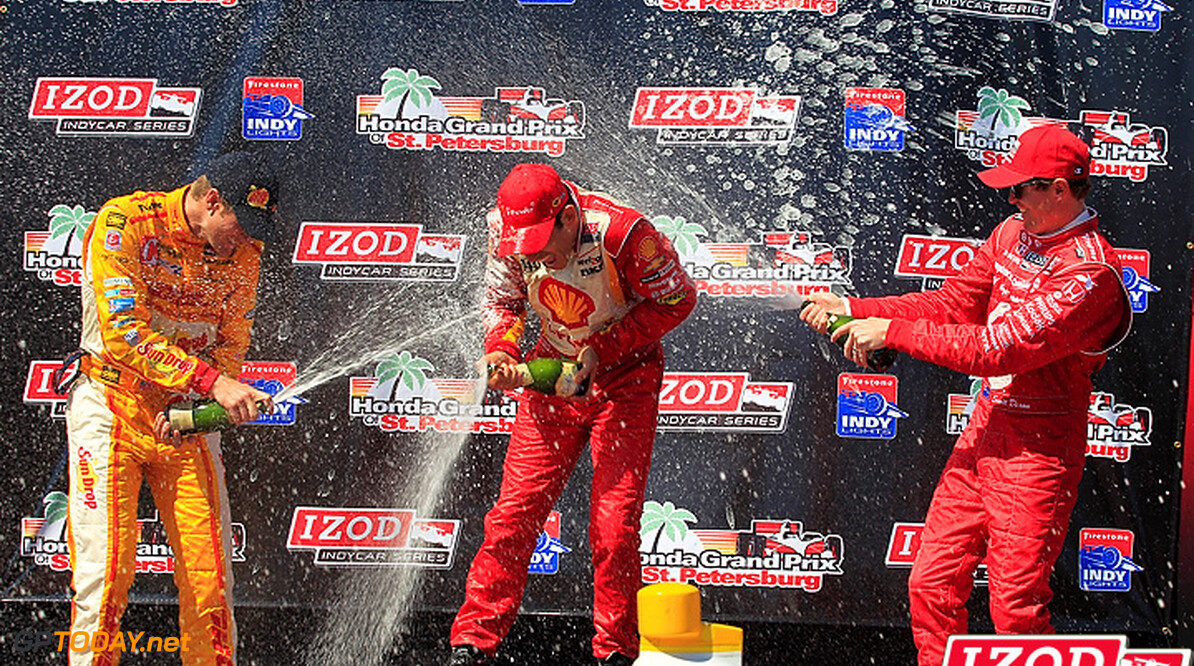 "2012 IndyCar St. Petersburg Priority 23-25 March, 2012, St. Petersburg, Florida, USA.Ryan Hunter-Reay, Helio Castroneves and Scott Dixon spray champagne on the winner's podium.(c)2012, Michael L. Levitt.LAT Photo USA.IMAGE COURTESY OF INDYCAR FOR EDITORIAL USAGE ONLY.  MANDATORY CREDIT: ""INDYCAR/LAT USA""  (c)2012, Michael L. Levitt Sebring USA"