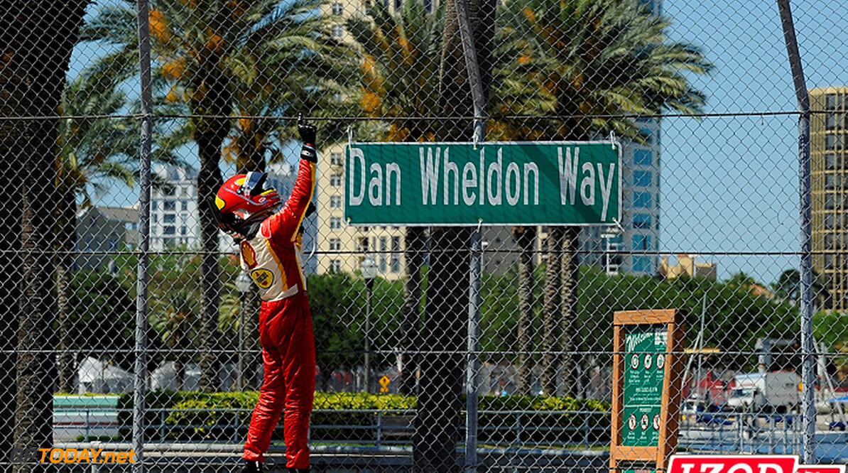 "2012 IndyCar St. Petersburg 23-25 March, 2012, St. Petersburg, Florida USA.Helio Castroneves (3) celebrates win and salutes Dan Wheldon.(c)2012, Scott LePage.LAT Photo USA.IMAGE COURTESY OF INDYCAR FOR EDITORIAL USAGE ONLY.  MANDATORY CREDIT: ""INDYCAR/LAT USA""  (c)2012 Scott LePage"