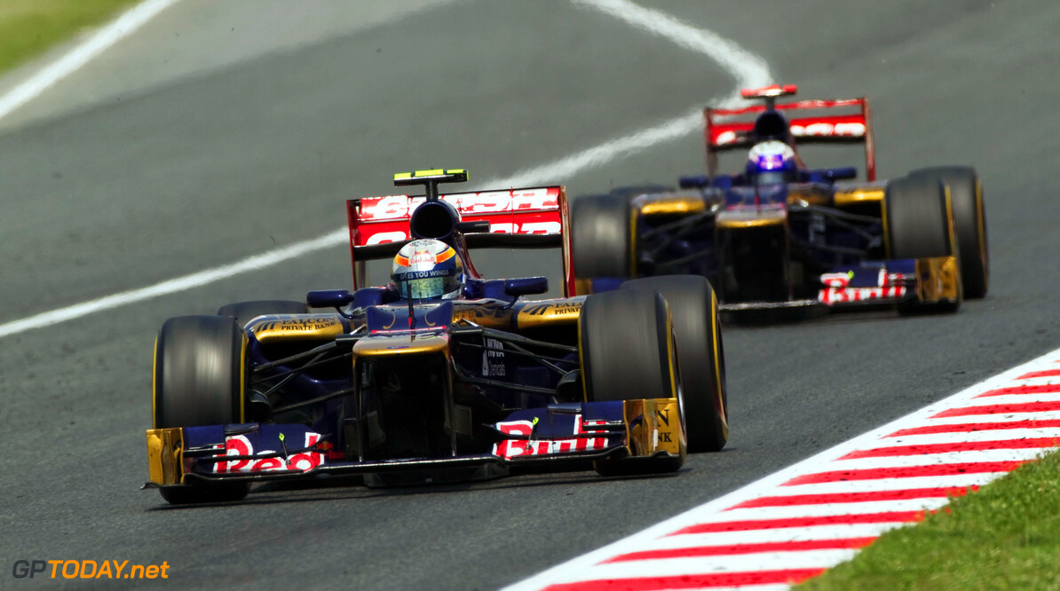 141017293KR144_Spanish_F1_G BARCELONA, SPAIN - MAY 13:  Jean-Eric Vergne of France and Scuderia Toro Rosso leads from team mate Daniel Ricciardo of Australia and Scuderia Toro Rosso during the Spanish Formula One Grand Prix at the Circuit de Catalunya on May 13, 2012 in Barcelona, Spain.  (Photo by Peter Fox/Getty Images) *** Local Caption *** Jean-Eric Vergne; Daniel Ricciardo Spanish F1 Grand Prix - Race Peter Fox Barcelona Spain  Formula One Racing F1