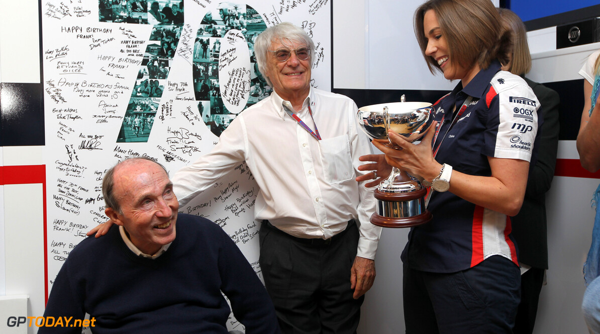 Circuit de Catalunya, Barcelona, Spain 12th May 2012 Sir Frank Williams, Team Principal, Williams F1 with Bernie Ecclestone, CEO, FOM and Claire Williams, Director of Communications and Marketing during an event to celebrate his 70th Brirthday. World Copyright:Glenn Dunbar/LAT Photographic ref: Digital Image CG8C3995      12 Montmelo ESP SPN Catalan F1 Formula 1 Formula One GP May FW70 Portrait
