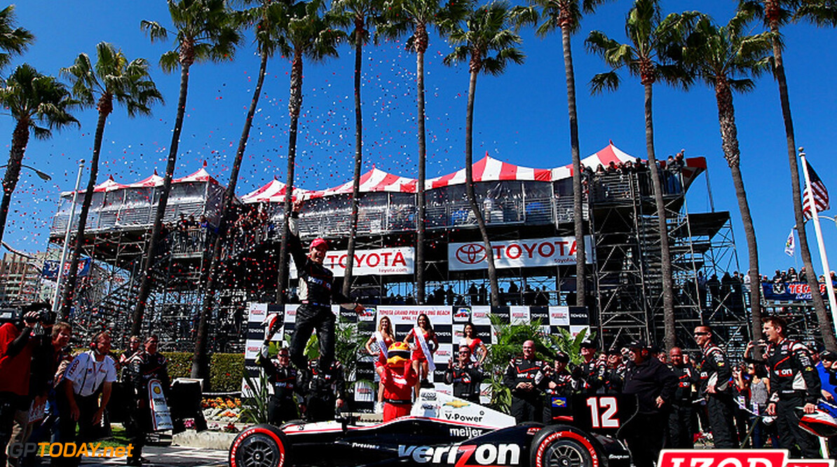 "2012 IndyCar Long Beach priority 12-15  April, 2012, Long Beach, California, USA.Winner Will Power celebrates with a jump.(c)2012, Michael L. Levitt.LAT Photo USA.IMAGE COURTESY OF INDYCAR FOR EDITORIAL USAGE ONLY.  MANDATORY CREDIT: ""INDYCAR/LAT USA""  (c)2012, Michael L. Levitt Long Beach   Will Power victory lane 2012 IndyCar Long Beach"