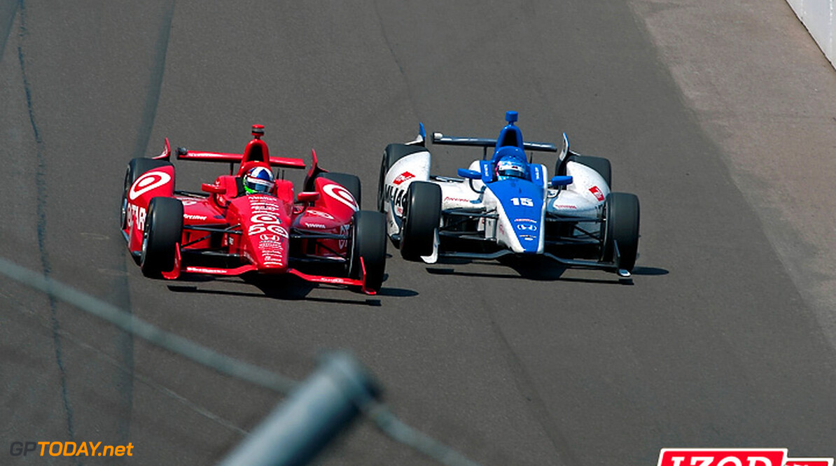 "2012 IndyCar Indy 500 Race Priority 27 May, 2012, Indianapolis, Indiana, USA.Leader Dario Franchitti (#50) forces challenger Takuma Sato (#15) as low as possible entering turn one on the 200th and final lap. Sato crashed with Franchitti going on to win..(c)2012, F. Peirce Williams.LAT Photo USA.IMAGE COURTESY OF INDYCAR FOR EDITORIAL USAGE ONLY.  MANDATORY CREDIT: ""INDYCAR/LAT USA""      Dario Franchitti Takuma Sato 2012 IndyCar Indy 500 Race"