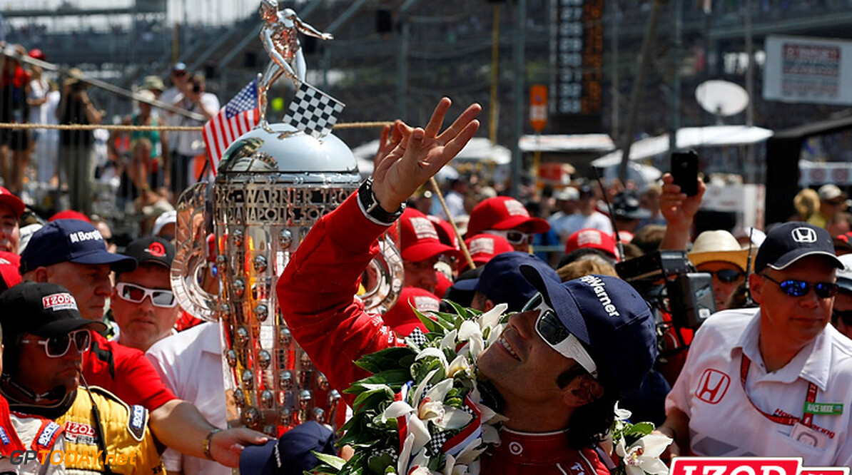 "2012 IndyCar Indy 500 Race Priority 27 May, 2012, Indianapolis, Indiana, USA.Dario Franchitti holds up three fingers in Victory Lane signifying his third Indy 500 win.(c)2012, Phillip Abbott.LAT Photo USA.IMAGE COURTESY OF INDYCAR FOR EDITORIAL USAGE ONLY.  MANDATORY CREDIT: ""INDYCAR/LAT USA""      Dario Franchitti Victory Circle winner third Indy 500 win 2012 IndyCar Indy 500 Race celebration"