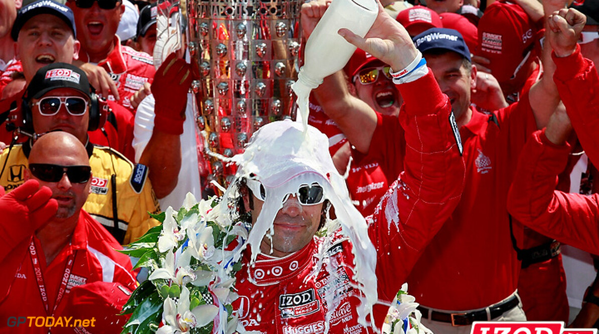 "2012 IndyCar Indy 500 Race priority 27 May 2012, Indianapolis, Indiana, USA.Winner Dario Franchitti celebrates with the winner's milk.(c)2012, Michael L. Levitt.LAT Photo USA.IMAGE COURTESY OF INDYCAR FOR EDITORIAL USAGE ONLY.  MANDATORY CREDIT: ""INDYCAR/LAT USA""  (c)2012, Michael L. Levitt Indianapolis USA  Dario Franchitti winner 2012 IndyCar Indy 500 Race Victory Circle milk celebration"