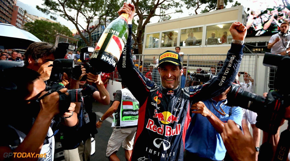 141017418KR043_Monaco_F1_Gr MONTE CARLO, MONACO - MAY 27:  Mark Webber of Australia and Red Bull Racing celebrates winning the Monaco Formula One Grand Prix at the Circuit de Monaco on May 27, 2012 in Monte Carlo, Monaco.  (Photo by Clive Mason/Getty Images) *** Local Caption *** Mark Webber Monaco F1 Grand Prix - Race Clive Mason Monte Carlo Monaco  Formula One Racing F1