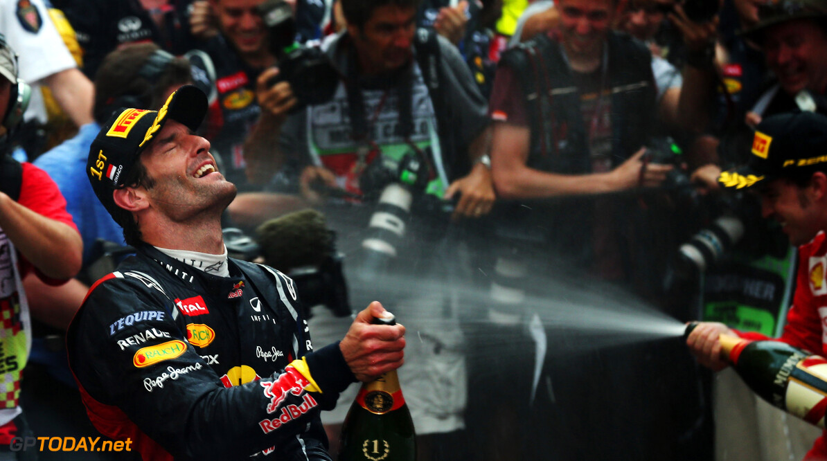 141017418KR058_Monaco_F1_Gr MONTE CARLO, MONACO - MAY 27:  Mark Webber of Australia and Red Bull Racing celebrates winning the Monaco Formula One Grand Prix at the Circuit de Monaco on May 27, 2012 in Monte Carlo, Monaco.  (Photo by Mark Thompson/Getty Images) *** Local Caption *** Mark Webber Monaco F1 Grand Prix - Race Mark Thompson Monte Carlo Monaco  Formula One Racing F1