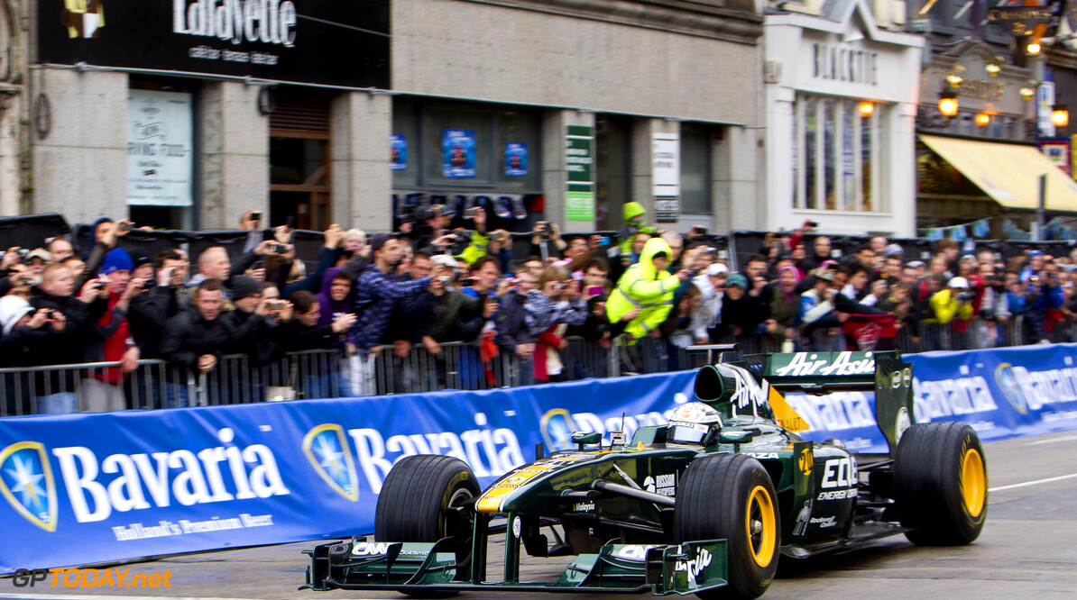 Giedo van der Garde - Bavaria City Race Dublin NO REPRO FEE 03/06/2012 Giedo van der Garde race his F1 Caterham Formula 1 car along the Dublin city track which starts at the Convention Centre Dublin, continues along Customs House Quay before crossing Butt Bridge, chicane's at D'Olier Street, zips past College Green and the Central Bank on Dame Street before reaching the chequered flag on O'Connell Bridge. Bavaria City Racing Dublin is a free public event and over 150,000 people are expected to line the streets of Dublin to enjoy the best the world of motorsport has to offer. For those who want to get closer to the action there are three ticketed premium performance zones on the track at Customs House Quay, O'Connell Bridge and at the Main Paddock on North Wall Quay. . Picture: Bavaria / Mathias Kniepeiss  Bavaria/Mathias Kniepeiss