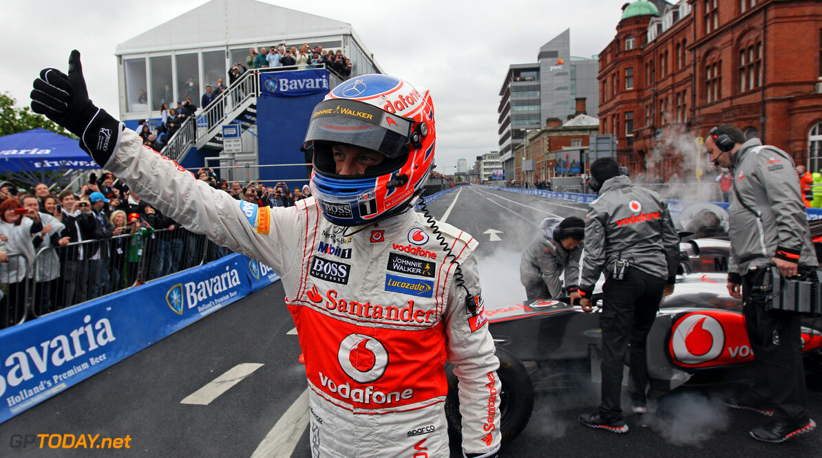 NO REPRO FEE 02/06/2012 Jenson Button direct after his demo in the streets of Dublin at Bavaria City Racing Dublin  Picture: Frits van Eldik Bavaria City Racing Dublin Frits van Eldik Dublin Ireand  Dublin Bavaria City Racing Bavaria City Racing
