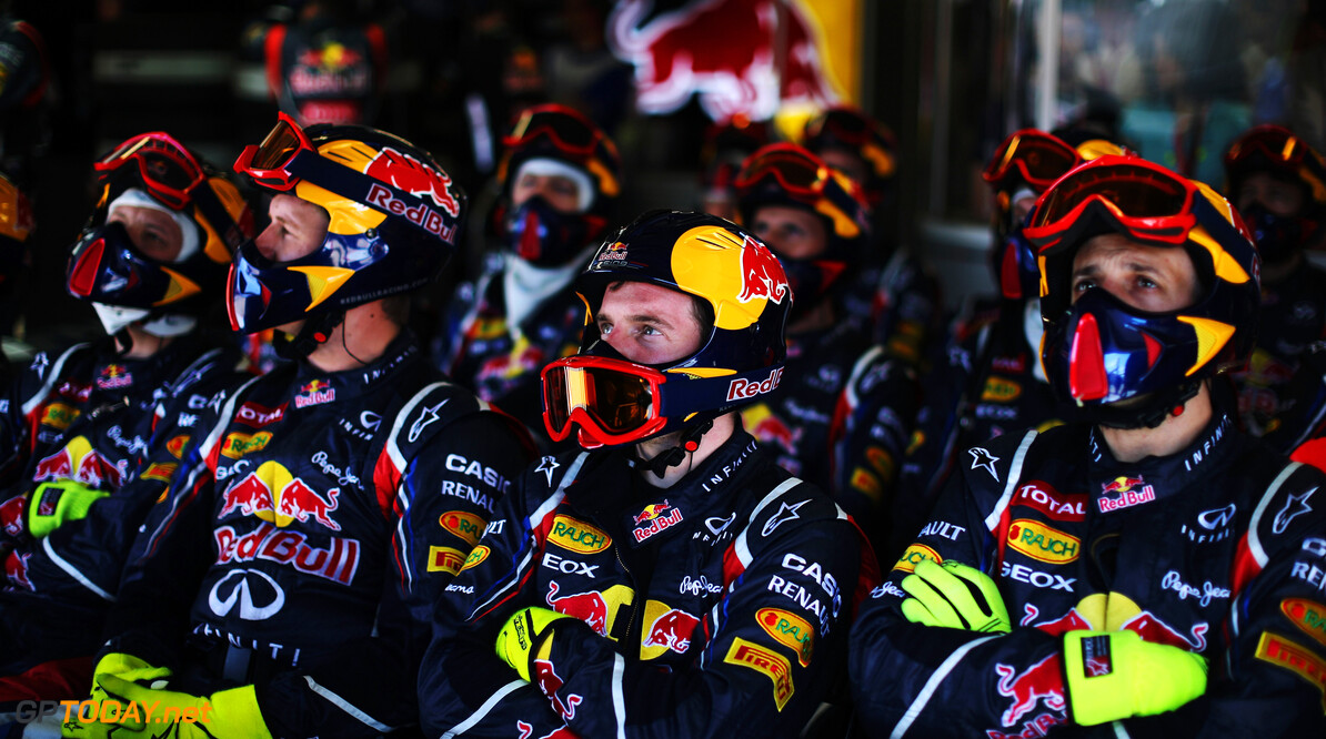 141017537KR096_Canadian_F1_ MONTREAL, CANADA - JUNE 10:  Red Bull Racing mechanics watch the timing screens during the Canadian Formula One Grand Prix at the Circuit Gilles Villeneuve on June 10, 2012 in Montreal, Canada.  (Photo by Mark Thompson/Getty Images) Canadian F1 Grand Prix - Race Mark Thompson Montreal Canada  Formula One Racing F1