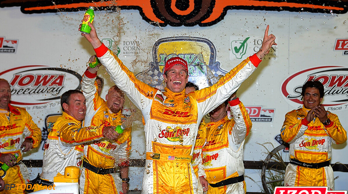 "2012 IndyCar Iowa priority 22-23 June, 2012, Newton, Iowa, USA.Winner Ryan Hunter-Reay celebrates in Victory Lane.(c)2012, Dan R. Boyd.LAT Photo USA.IMAGE COURTESY OF INDYCAR FOR EDITORIAL USAGE ONLY.  MANDATORY CREDIT: ""INDYCAR/LAT USA""  (c)2012, Michael L. Levitt Newton USA  Ryan Hunter-Reay victory lane celebration 2012 IndyCar Iowa"