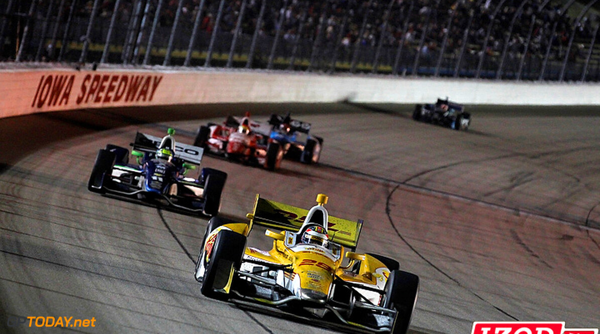 "2012 IndyCar Iowa priority 22-23 June, 2012, Newton, Iowa, USA.Winner Ryan Hunter-Reay leads Tony Kanaan.(c)2012, Phillip Abbott.LAT Photo USA.IMAGE COURTESY OF INDYCAR FOR EDITORIAL USAGE ONLY.  MANDATORY CREDIT: ""INDYCAR/LAT USA""  (c)2012, Michael L. Levitt Newton USA  Ryan Hunter-Reay Tony Kanaan 2012 IndyCar Iowa"