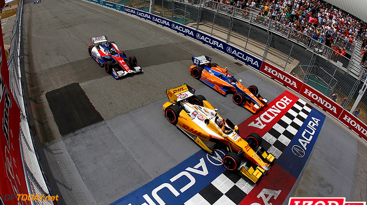 2012 IndyCar Toronto priority 6-9 July, 2012, Toronto, Ontario, Canada.Winner Ryan Hunter-Reay, Charlie Kimball and Mike Conway take the checkered flag.(c)2012, Michael L. Levitt.LAT Photo USA  (c)2012, Michael L. Levitt Toronto Canada  win