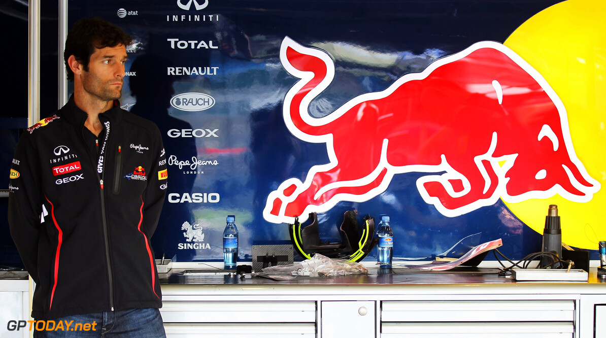 141017647KR00025_F1_Grand_P NORTHAMPTON, ENGLAND - JULY 05:  Mark Webber of Australia and Red Bull Racing is seen in his team garage during previews to the British Grand Prix at Silverstone Circuit on July 5, 2012 in Northampton, England.  (Photo by Mark Thompson/Getty Images) *** Local Caption *** Mark Webber F1 Grand Prix of Great Britain - Previews Mark Thompson Northampton United Kingdom  Formula One Racing
