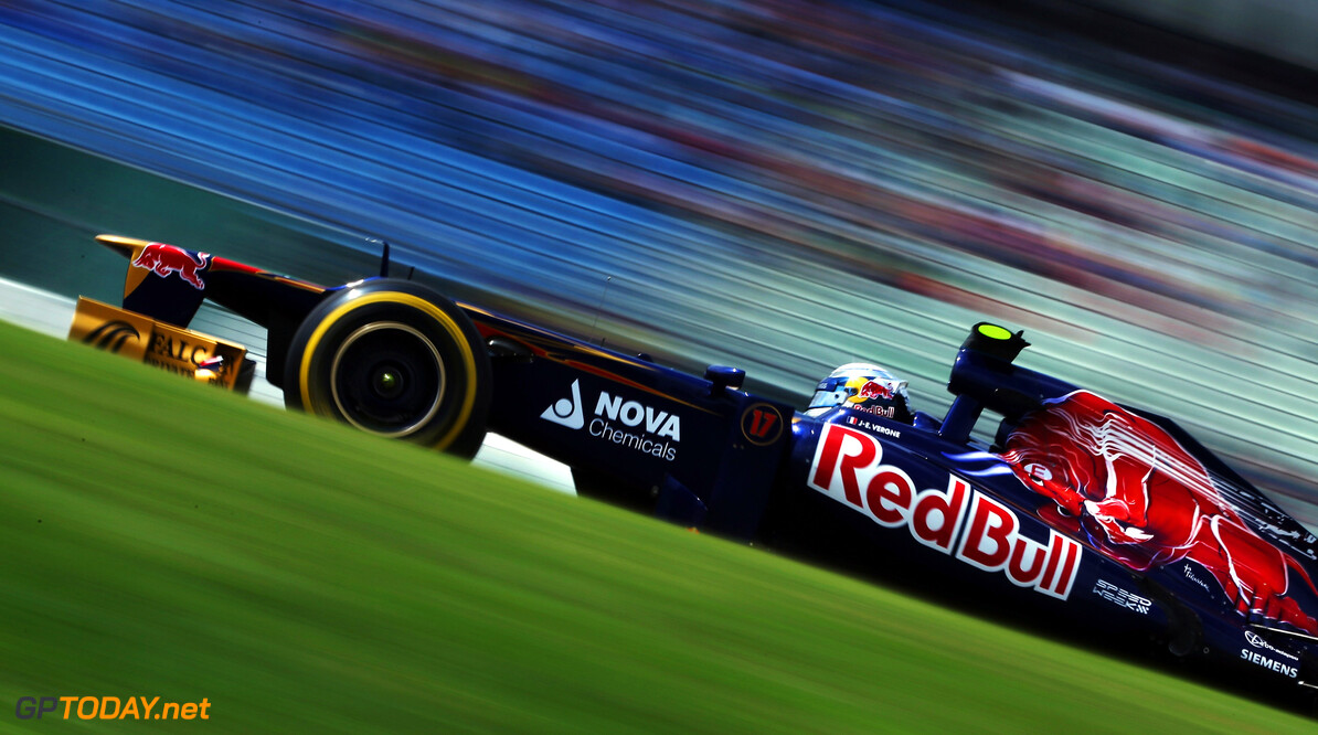 141017778KR00045_F1_Grand_P HOCKENHEIM, GERMANY - JULY 21:  Jean-Eric Vergne of France and Scuderia Toro Rosso drives during the final practice session prior to qualifying for the German Grand Prix at Hockenheimring on July 21, 2012 in Hockenheim, Germany.  (Photo by Mark Thompson/Getty Images) *** Local Caption *** Jean-Eric Vergne F1 Grand Prix of Germany - Qualifying Mark Thompson Hockenheim Germany  Formula One Racing