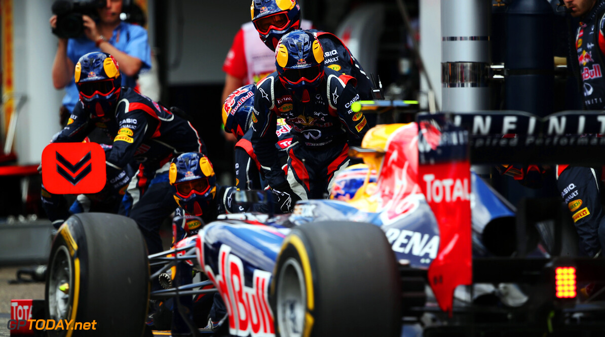 141017788KR00036_F1_Grand_P HOCKENHEIM, GERMANY - JULY 22:  Mark Webber of Australia and Red Bull Racing drives in for a pitstop during the German Grand Prix at Hockenheimring on July 22, 2012 in Hockenheim, Germany.  (Photo by Mark Thompson/Getty Images) *** Local Caption *** Mark Webber F1 Grand Prix of Germany - Race Mark Thompson Hockenheim Germany  Formula One Racing