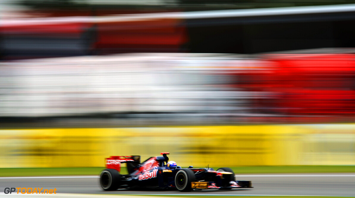 141017773KR00071_F1_Grand_P HOCKENHEIM, GERMANY - JULY 20:  Daniel Ricciardo of Australia and Scuderia Toro Rosso drives during practice for the German Grand Prix at Hockenheimring on July 20, 2012 in Hockenheim, Germany.  (Photo by Lars Baron/Getty Images) *** Local Caption *** Daniel Ricciardo F1 Grand Prix of Germany - Practice Lars Baron Hockenheim Germany  Formula One Racing