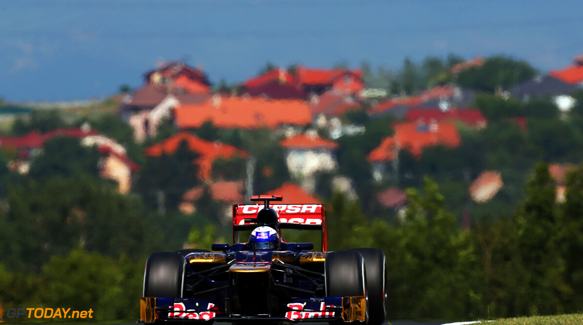 141017825KR00050_F1_Grand_P BUDAPEST, HUNGARY - JULY 28:  Daniel Ricciardo of Australia and Scuderia Toro Rosso drives during the final practice session prior to qualifying for the Hungarian Formula One Grand Prix at the Hungaroring on July 28, 2012 in Budapest, Hungary.  (Photo by Mark Thompson/Getty Images) *** Local Caption *** Daniel Ricciardo F1 Grand Prix of Hungary - Qualifying Mark Thompson Budapest Hungary  Formula One Racing