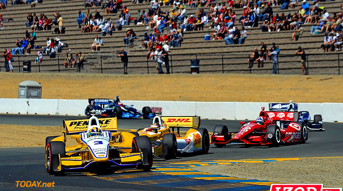 "2012 IndyCar Sonoma Priority 24-26 August, 2012, Sonoma, California USA.Helio Castroneves (#3) leads Ryan Hunter-Reay (#28), Dario Franchitti (#10), Alex Tagliani (#98) and Rubens Barrichello (#8) through the chicane..(c)2012, F. Peirce Williams.LAT Photo USA.IMAGE COURTESY OF INDYCAR FOR EDITORIAL USAGE ONLY.  MANDATORY CREDIT: ""INDYCAR/LAT USA""      Helio Castroneves 2012 IndyCar Sonoma"