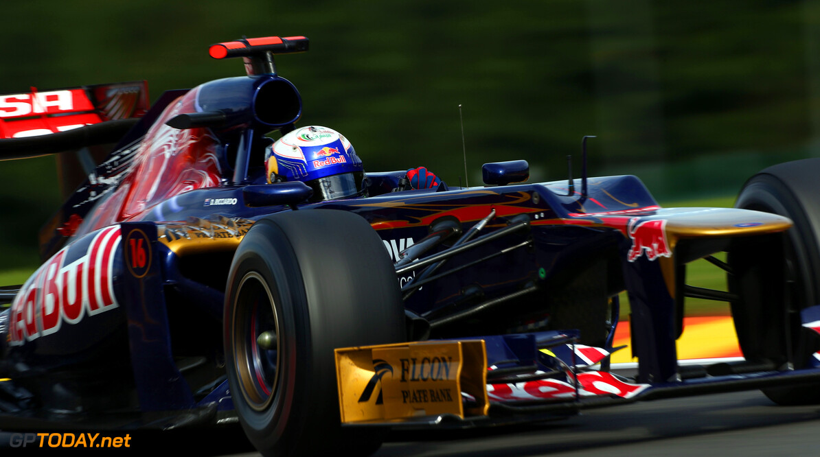 141017907KR00174_F1_Grand_P SPA, BELGIUM - SEPTEMBER 02:  Daniel Ricciardo of Australia and Scuderia Toro Rosso drives during the Belgian Grand Prix at the Circuit of Spa Francorchamps on September 2, 2012 in Spa Francorchamps, Belgium.  (Photo by Clive Mason/Getty Images) *** Local Caption *** Daniel Ricciardo F1 Grand Prix of Belgium Clive Mason Spa Belgium  Formula One Racing