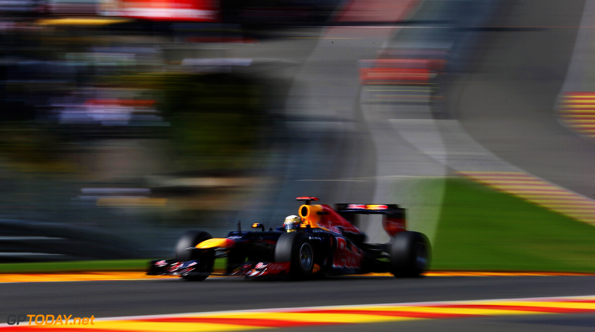 141017907KR00146_F1_Grand_P SPA, BELGIUM - SEPTEMBER 02:  Sebastian Vettel of Germany and Red Bull Racing drives during the Belgian Grand Prix at the Circuit of Spa Francorchamps on September 2, 2012 in Spa Francorchamps, Belgium.  (Photo by Mark Thompson/Getty Images) *** Local Caption *** Sebastian Vettel F1 Grand Prix of Belgium Mark Thompson Spa Belgium  Formula One Racing