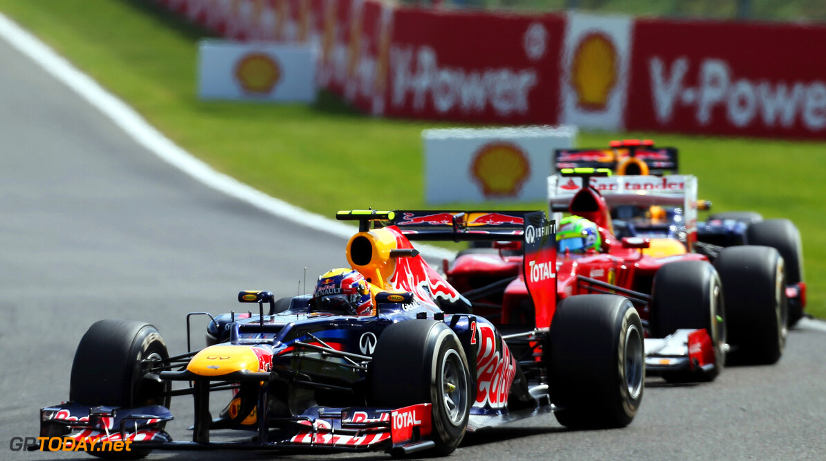 141017907KR00156_F1_Grand_P SPA, BELGIUM - SEPTEMBER 02:  Mark Webber of Australia and Red Bull Racing drives during the Belgian Grand Prix at the Circuit of Spa Francorchamps on September 2, 2012 in Spa Francorchamps, Belgium.  (Photo by Mark Thompson/Getty Images) *** Local Caption *** Mark Webber F1 Grand Prix of Belgium Mark Thompson Spa Belgium  Formula One Racing
