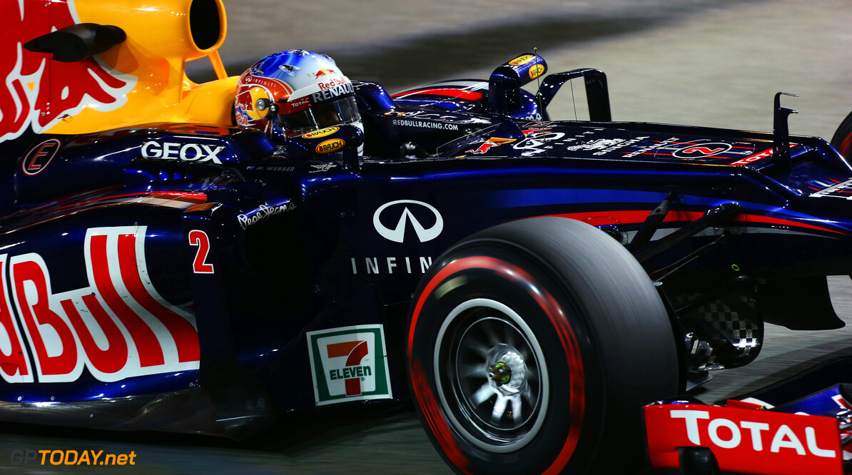 141020438KR00194_F1_Grand_P SINGAPORE - SEPTEMBER 21:  Mark Webber of Australia and Red Bull Racing drives during practice for the Singapore Formula One Grand Prix at the Marina Bay Street Circuit on September 21, 2012 in Singapore, Singapore.  (Photo by Mark Thompson/Getty Images) *** Local Caption *** Mark Webber F1 Grand Prix of Singapore - Practice Mark Thompson Singapore Singapore  Formula One Racing