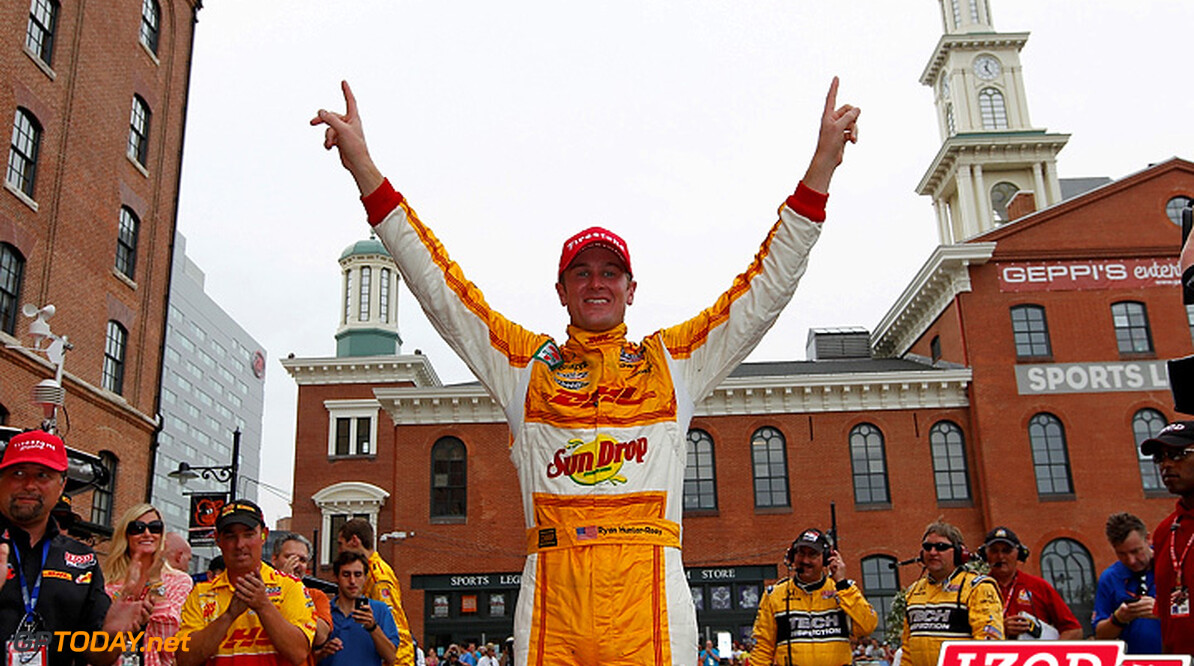 "2012 IndyCar Baltimore priority 31 August - 2 September 2012, Baltimore, Maryland, USA.Winner Ryan Hunter-Reay celebrates his win.(c)2012, Michael L. Levitt.LAT Photo USA.IMAGE COURTESY OF INDYCAR FOR EDITORIAL USAGE ONLY.  MANDATORY CREDIT: ""INDYCAR/LAT USA""  (c)2012, Michael L. Levitt Baltimore USA  Ryan Hunter-Reay victory celebration 2012 IndyCar Baltimore"