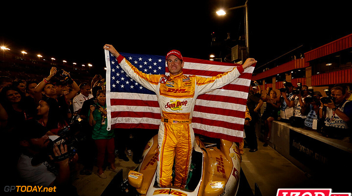 "2012 IndyCar Fontana priority 12-15  September 2012, Fontana, California, USA.Champion Ryan Hunter-Reay celebrates with the American Flag.(c) 2012, Michael L. Levitt.LAT Photo USA.IMAGE COURTESY OF INDYCAR FOR EDITORIAL USAGE ONLY.  MANDATORY CREDIT: ""INDYCAR/LAT USA""  (c) 2012, Michael L. Levitt Fontana USA  Ryan Hunter-Reay championship 2012 IndyCar Fontana"