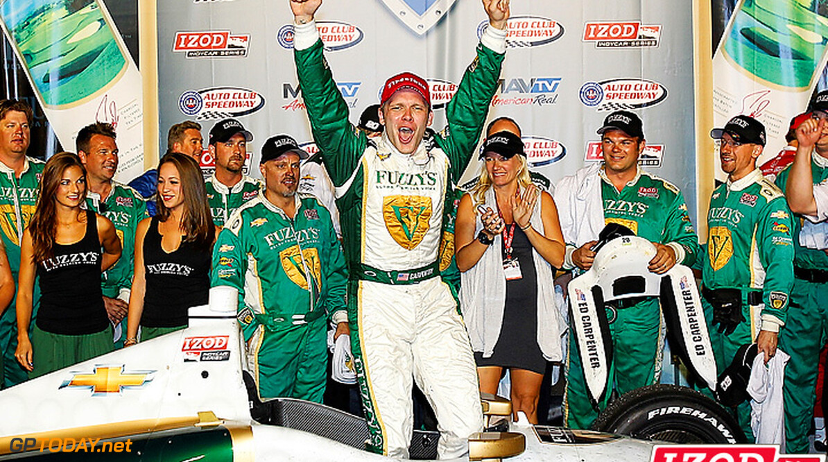 "2012 IndyCar Fontana Priority 14-15, September, 2012, Fontana, California, USA.Ed Carpenter celebrates winning the MAVTV 500..(c) 2012, Perry Nelson.LAT Photo USA.IMAGE COURTESY OF INDYCAR FOR EDITORIAL USAGE ONLY.  MANDATORY CREDIT: ""INDYCAR/LAT USA""  Perry Nelson    Ed Carpenter victory lane celebration 2012 IndyCar Fontana"
