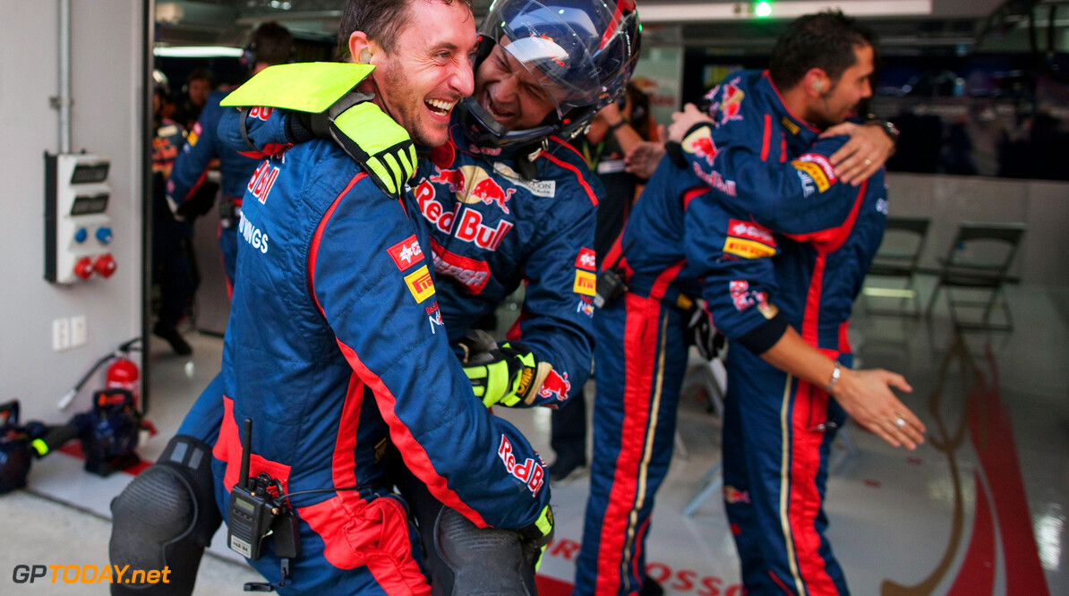YEONGAM-GUN, SOUTH KOREA - OCTOBER 14:  Scuderia Toro Rosso team celebrate as Jean-Eric Vergne of France and Scuderia Toro Rosso finishes eighth and Daniel Ricciardo of Australia and Scuderia Toro Rosso finishes ninth during the Korean Formula One Grand Prix at the Korea International Circuit on October 14, 2012 in Yeongam-gun, South Korea.  (Photo by Peter Fox/Getty Images) F1 Grand Prix of Korea Peter Fox Yeongam-gun South Korea  Formula One Racing