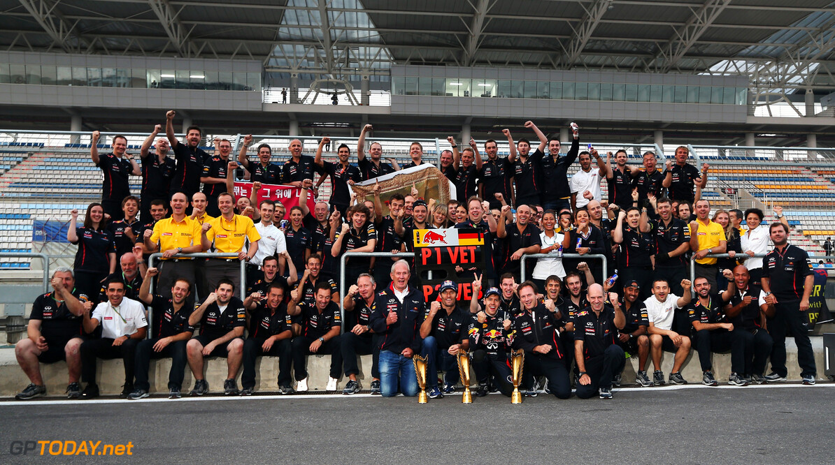 141020561KR00183_F1_Grand_P YEONGAM-GUN, SOUTH KOREA - OCTOBER 14:  Sebastian Vettel of Germany and Red Bull Racing celebrates with team mates after winning the Korean Formula One Grand Prix at the Korea International Circuit on October 14, 2012 in Yeongam-gun, South Korea.  (Photo by Mark Thompson/Getty Images) *** Local Caption *** Sebastian Vettel F1 Grand Prix of Korea Mark Thompson Yeongam-gun South Korea  Formula One Racing