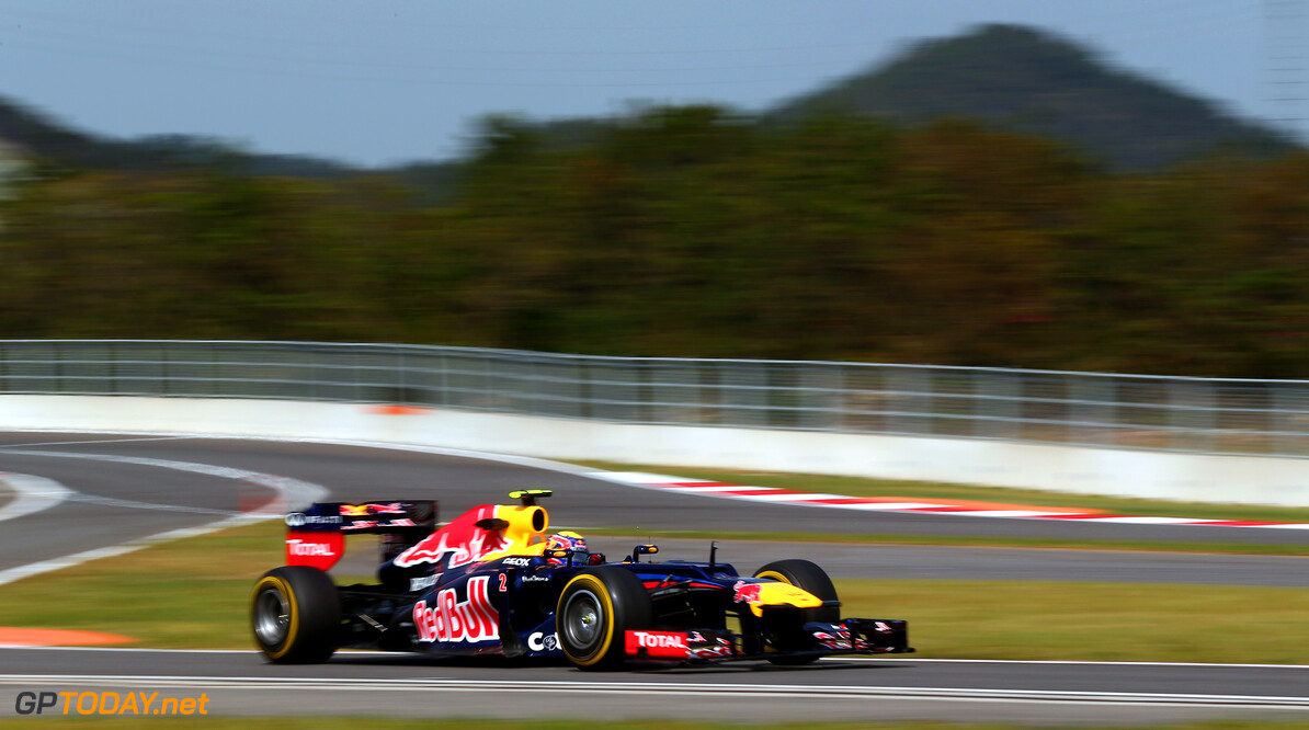 141020542KR00041_F1_Grand_P YEONGAM-GUN, SOUTH KOREA - OCTOBER 12:  Mark Webber of Australia and Red Bull Racing drives during practice for the Korean Formula One Grand Prix at the Korea International Circuit on October 11, 2012 in Yeongam-gun, South Korea.  (Photo by Clive Rose/Getty Images) *** Local Caption *** Mark Webber F1 Grand Prix of Korea - Practice Clive Rose Yeongam-gun South Korea  Formula One Racing