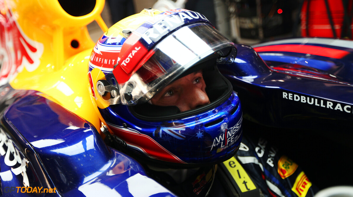 141020669KR00163_F1_Grand_P NOIDA, INDIA - OCTOBER 27:  Mark Webber of Australia and Red Bull Racing prepares to drive during qualifying for the Indian Formula One Grand Prix at Buddh International Circuit on October 27, 2012 in Noida, India.  (Photo by Mark Thompson/Getty Images) *** Local Caption *** Mark Webber F1 Grand Prix Of India - Qualifying Mark Thompson Noida India  Formula One Racing