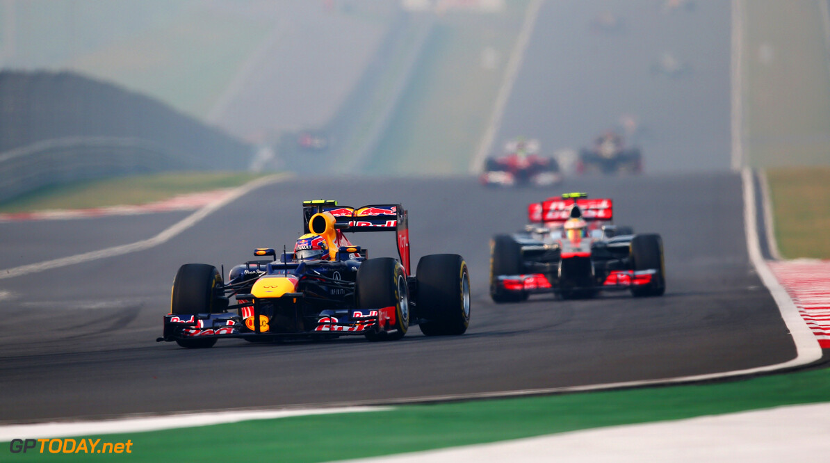 141020671KR00063_F1_Grand_P NOIDA, INDIA - OCTOBER 28:  Mark Webber of Australia and Red Bull Racing drives during the Indian Formula One Grand Prix at Buddh International Circuit on October 28, 2012 in Noida, India.  (Photo by Clive Mason/Getty Images) *** Local Caption *** Mark Webber F1 Grand Prix Of India Clive Mason Noida India  Formula One Racing