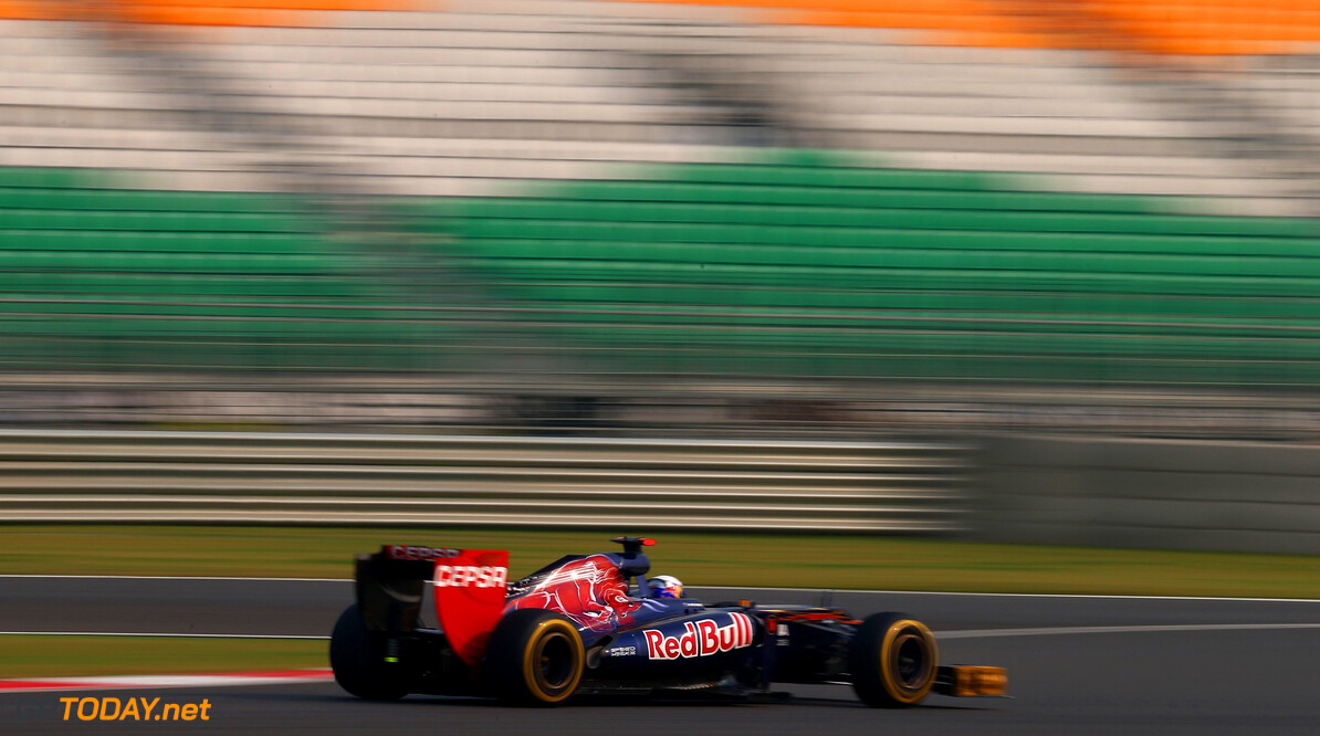 141020623KR00316_F1_Grand_P NOIDA, INDIA - OCTOBER 26:  Daniel Ricciardo of Australia and Scuderia Toro Rosso drives during practice for the Indian Formula One Grand Prix at Buddh International Circuit on October 26, 2012 in Noida, India.  (Photo by Clive Mason/Getty Images) *** Local Caption *** Daniel Ricciardo F1 Grand Prix Of India - Practice Clive Mason Noida India  Formula One Racing