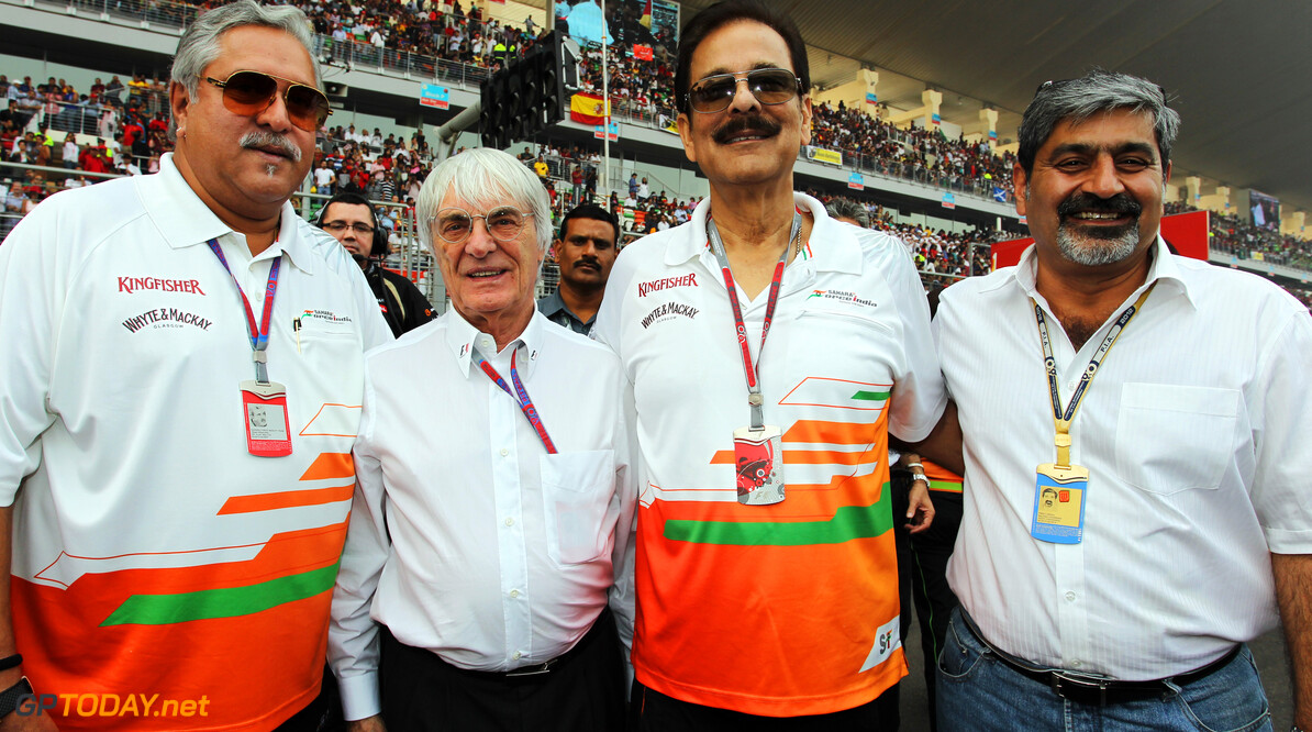 Formula One World Championship (L to R): Dr. Vijay Mallya (IND) Sahara Force India F1 Team Owner on the grid with Bernie Ecclestone (GBR) CEO Formula One Group (FOM), Subrata Roy Sahara (IND) Sahara Chairman and Vicky Chandhok (IND).