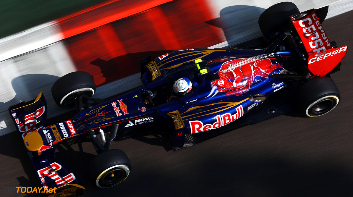 141020749KR00040_F1_Grand_P ABU DHABI, UNITED ARAB EMIRATES - NOVEMBER 03:  Jean-Eric Vergne of France and Scuderia Toro Rosso drives during the final practice session prior to qualifying for the Abu Dhabi Formula One Grand Prix at the Yas Marina Circuit on November 3, 2012 in Abu Dhabi, United Arab Emirates.  (Photo by Paul Gilham/Getty Images) *** Local Caption *** Jean-Eric Vergne F1 Grand Prix of Abu Dhabi - Qualifying Paul Gilham Abu Dhabi United Arab Emirates  Formula One Racing
