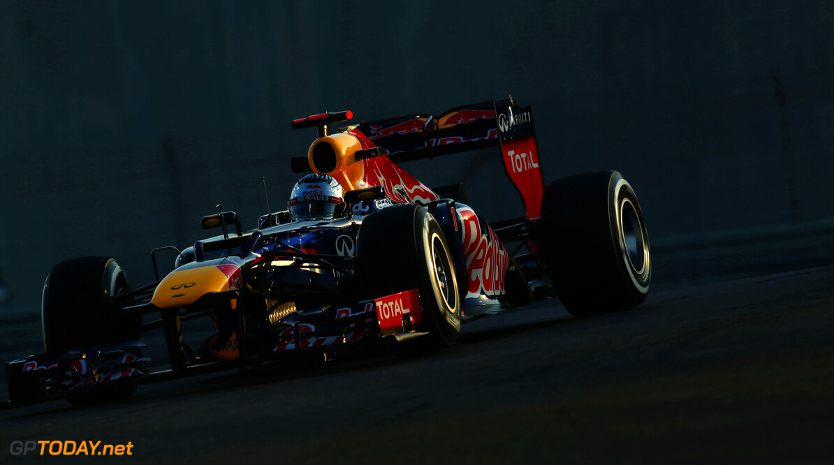 141020742KR00004_F1_Grand_P ABU DHABI, UNITED ARAB EMIRATES - NOVEMBER 02:  Sebastian Vettel of Germany and Red Bull Racing drives during practice for the Abu Dhabi Formula One Grand Prix at the Yas Marina Circuit on November 2, 2012 in Abu Dhabi, United Arab Emirates.  (Photo by Mark Thompson/Getty Images) *** Local Caption *** Sebastian Vettel F1 Grand Prix of Abu Dhabi - Practice Mark Thompson Abu Dhabi United Arab Emirates  Formula One Racing