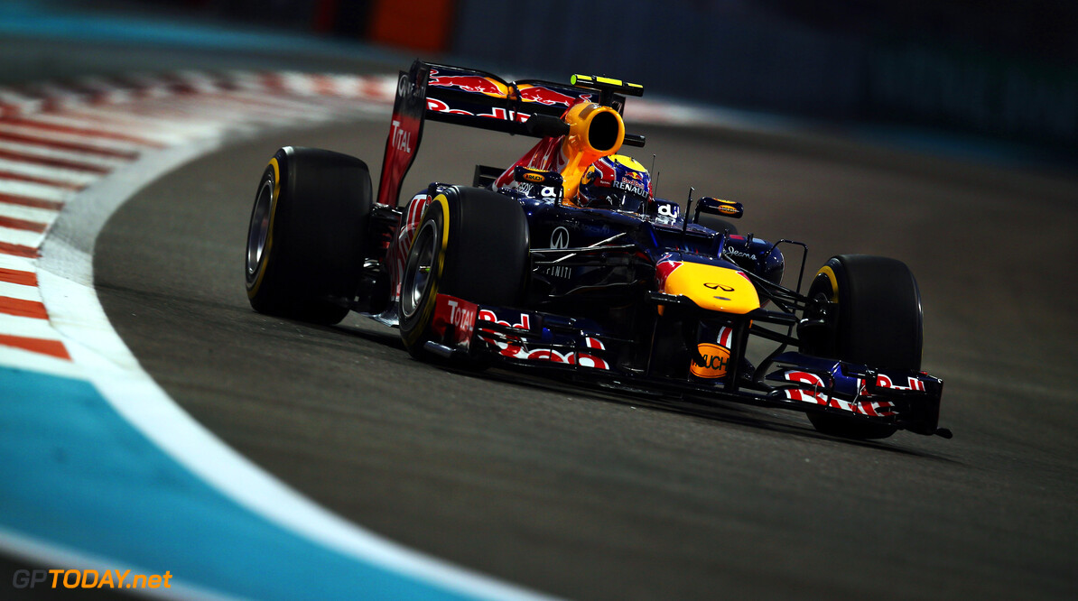 141020742KR00178_F1_Grand_P ABU DHABI, UNITED ARAB EMIRATES - NOVEMBER 02:  Mark Webber of Australia and Red Bull Racing drives during practice for the Abu Dhabi Formula One Grand Prix at the Yas Marina Circuit on November 2, 2012 in Abu Dhabi, United Arab Emirates.  (Photo by Mark Thompson/Getty Images) *** Local Caption *** Mark Webber F1 Grand Prix of Abu Dhabi - Practice Mark Thompson Abu Dhabi United Arab Emirates  Formula One Racing