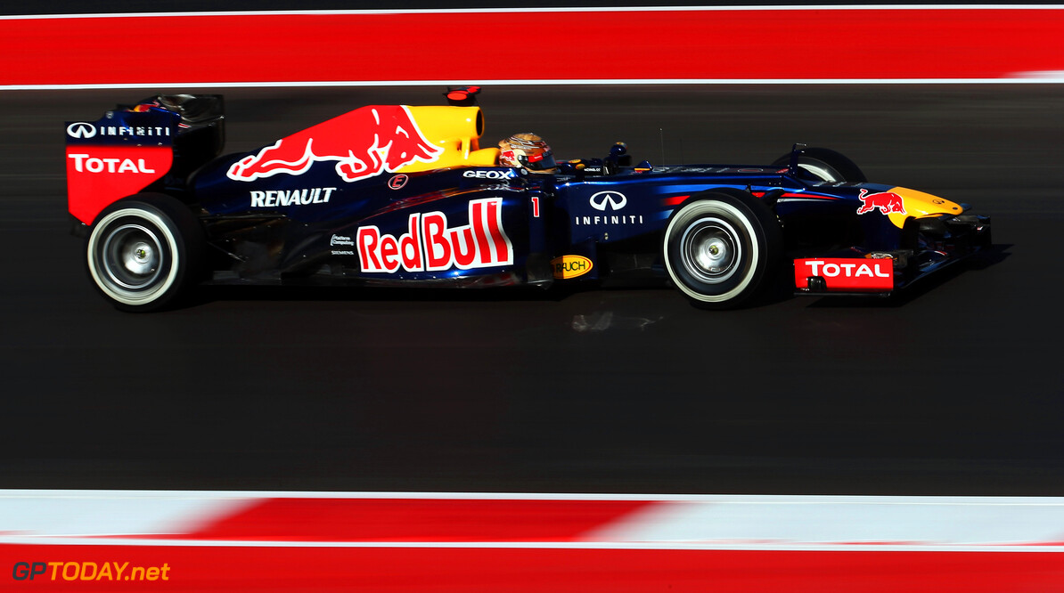 141020889KR00016_F1_Grand_P AUSTIN, TX - NOVEMBER 17:  Sebastian Vettel of Germany and Red Bull Racing drives during the final practice session prior to qualifying for the United States Formula One Grand Prix at the Circuit of the Americas on November 17, 2012 in Austin, Texas.  (Photo by Mark Thompson/Getty Images) *** Local Caption *** Sebastian Vettel F1 Grand Prix of USA - Qualifying Mark Thompson Austin United States  Formula One Racing