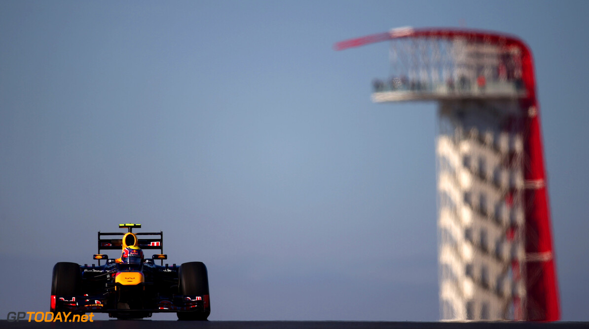 141020892KR00084_F1_Grand_P AUSTIN, TX - NOVEMBER 16:  Mark Webber of Australia and Red Bull Racing drives during practice for the United States Formula One Grand Prix at the Circuit of the Americas on November 16, 2012 in Austin, Texas.  (Photo by Clive Mason/Getty Images) *** Local Caption *** Mark Webber F1 Grand Prix of USA - Practice Clive Mason Austin United States  Formula One Racing